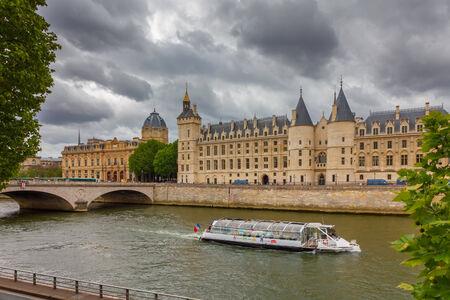 Pont au Change over the Seine River,  Palais de Justice and the Conciergerie in Paris, France