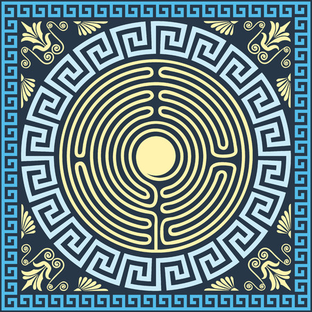 set Traditional vintage golden and blue square and round Greek ornament (Meander), labyrinth and floral pattern Stock Illustratie