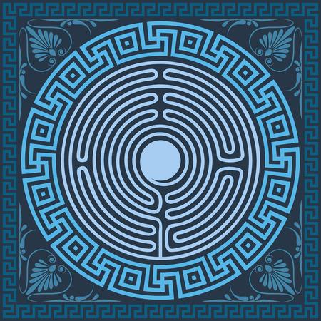 set Traditional vintage blue square and round Greek ornament (Meander), labyrinth and floral pattern Illustration