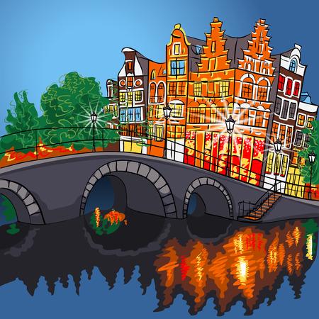 アムステルダムの運河、橋、典型的な家屋、オランダ、オランダの都市夜景  イラスト・ベクター素材