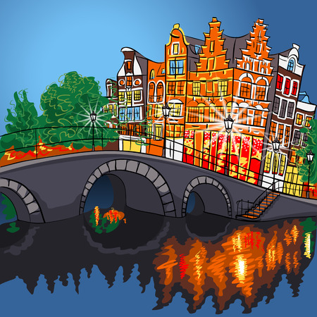 Night city view of Amsterdam canal, bridge and typical houses, Holland, Netherlands. Vector