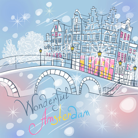 dutch landmark: Christmas city view of Amsterdam canal, typical dutch houses and bridge, Holland, Netherlands.
