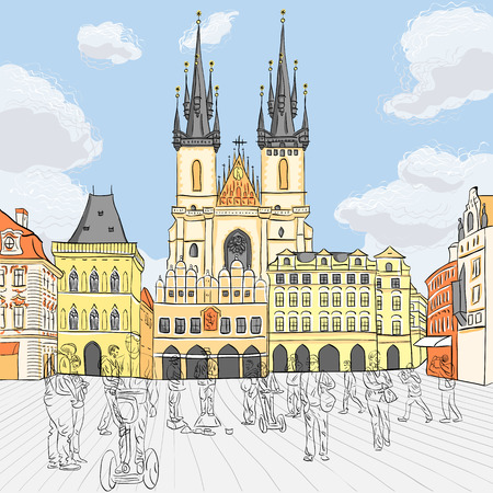 town square: Picturesque view over Old Town square in Prague, Czech Republic