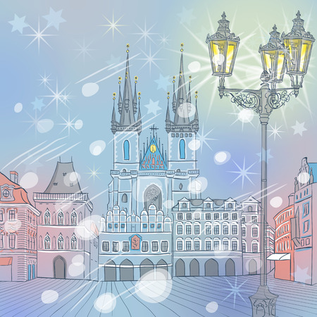 Picturesque winter view of Christmas Old Town square in Prague, Czech Republic Çizim