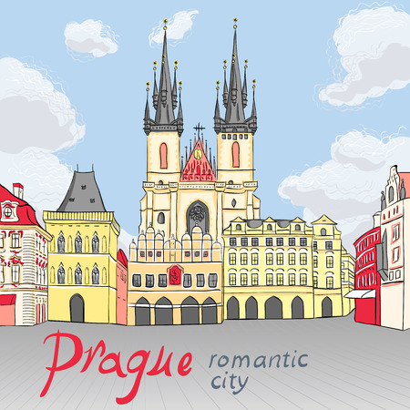 praha: Picturesque view over Old Town square in Prague, Czech Republic
