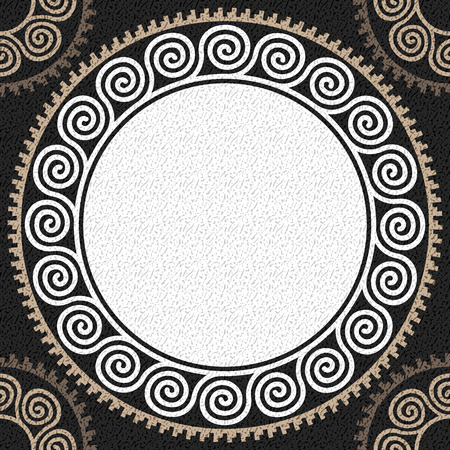Seamless Traditional vintage white Greek ornament (Meander) and wave pattern on a black background