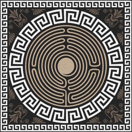 シームレスな伝統的なビンテージ ホワイト ギリシャ飾り (蛇行) と黒の背景に波のパターン  イラスト・ベクター素材