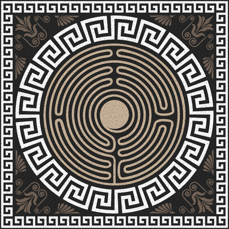 ancient greek: Seamless Traditional vintage white Greek ornament (Meander) and wave pattern on a black background