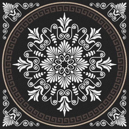 meander: Seamless Traditional vintage white Greek ornament (Meander) and wave pattern on a black background