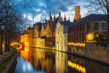 belfort: Scenic cityscape with a medieval tower Belfort and the Green canal (Groenerei)  at sunset in Bruges, Belgium