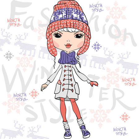 scarves: Vector beautiful fashion girl in winter