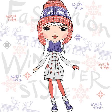 sciarpe: Vector bella ragazza di modo in inverno Vettoriali