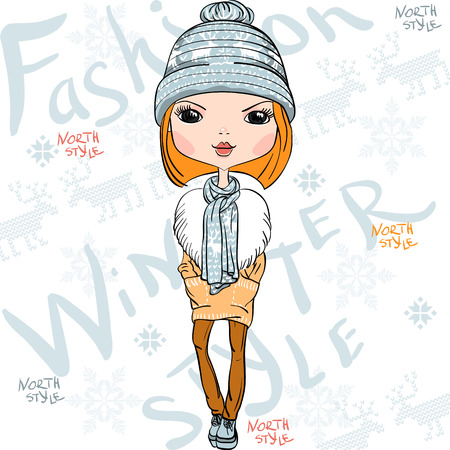 blush: Vector beautiful fashion girl in winter