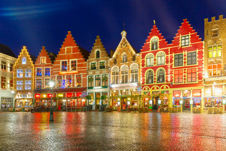 european: Christmas Old Market square in the center of Bruges, Belgium Stock Photo
