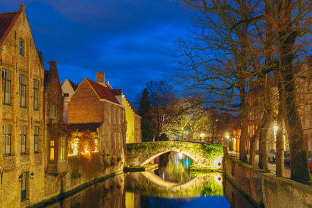 belfort: Cityscape with a tower Belfort and the Green canal in Bruges at