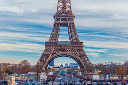 Eiffel tower, La Tour Eiffel, in Paris, France. Beautiful view from Trocadero, Palais de Chaillot