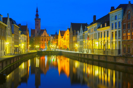 Jan Van Eyck Square and Canal Spiegel in Bruges, Belgium photo