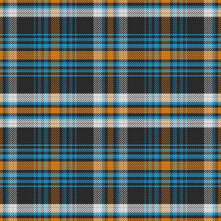 black and blue: vector seamless pattern Scottish tartan, white and black, blue and orange