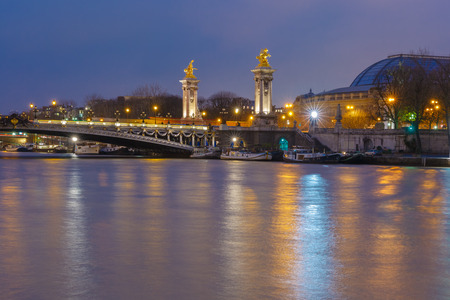 Pont Alexandre III at night in Paris, France photo