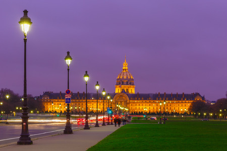Les Invalides at night in Paris, France photo