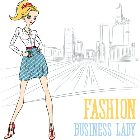 top model: Vector  fashion business girl in Defense