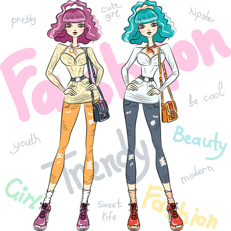 top model: Vector beautiful fashion girls top models Illustration