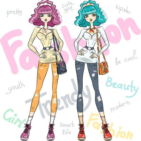 tall and short: Vector beautiful fashion girls top models Illustration