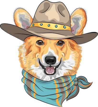vector Hipster dog Pembroke Welsh corgi