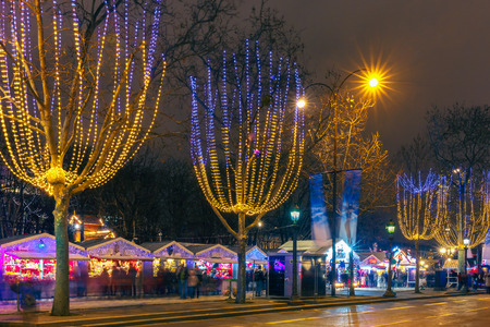 Christmas  market on the Champs Elysees in Paris at night Stok Fotoğraf