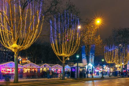 Kerstmarkt op de Champs Elysees in Parijs bij nacht