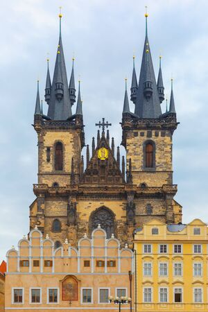 tyn: Church of Our Lady before Tyn in Prague, Czech Republic Stock Photo