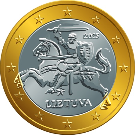 knight on horse: lithuanian euro gold money coin Illustration