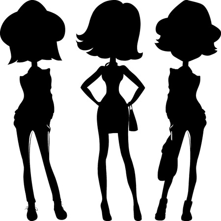 top model: Silhouette fashion girls top models Illustration
