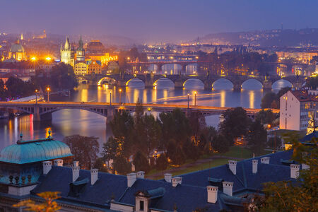 vltava: Top view bridges on the Vltava River in Prague, Czechia