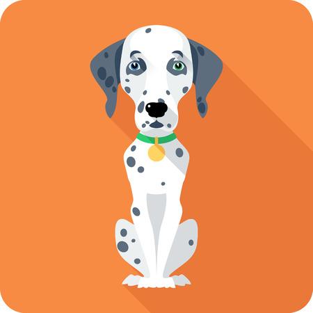 dalmatian: dog Dalmatian icon flat design Illustration