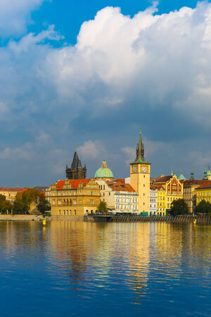 unesco in czech republic: Picturesque view of the Vltava River and Old Town in Prague, Cze