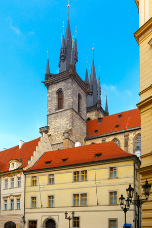 old town square: Houses with a tower on Old Town Square, Czech Republic