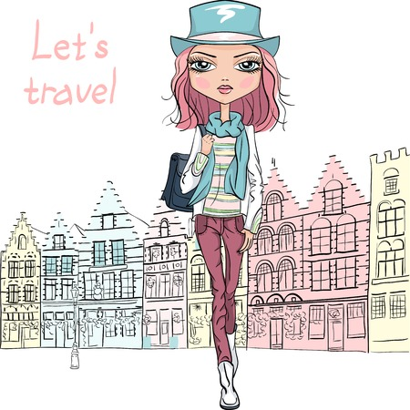 Vector beautiful fashion girl in Bruges Illustration