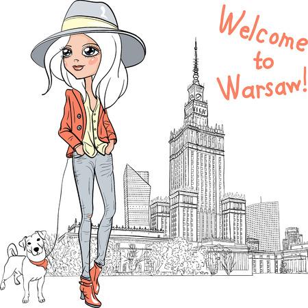 Vector beautiful fashion girl in Warsaw Illustration