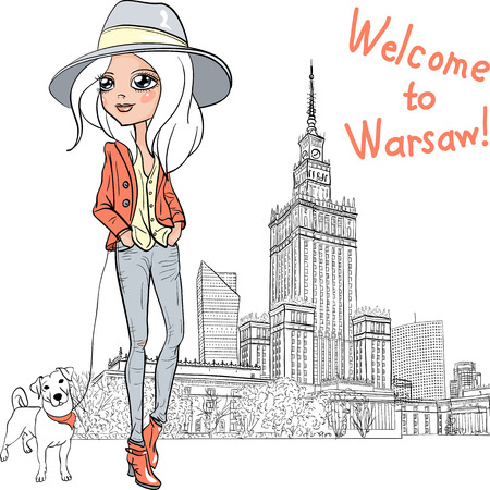 Vector beautiful fashion girl in Warsaw Ilustrace
