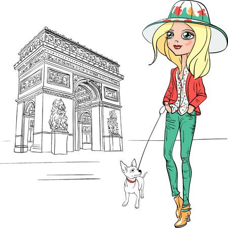 美しいファッションの少女パリをベクトルします。  イラスト・ベクター素材