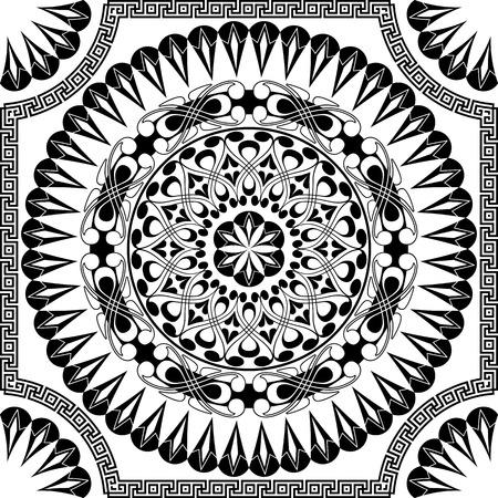 antique key: vector black pattern of spirals, swirls and chains