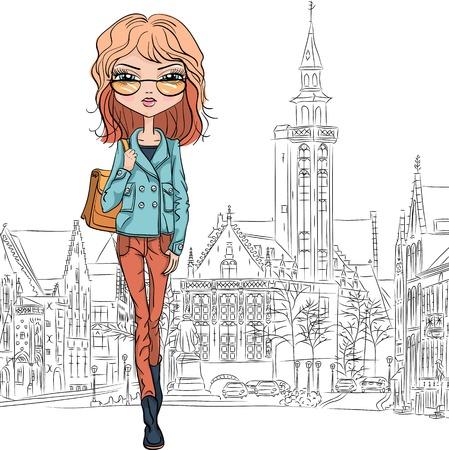 bruges: Vector beautiful fashion girl in Bruges Illustration