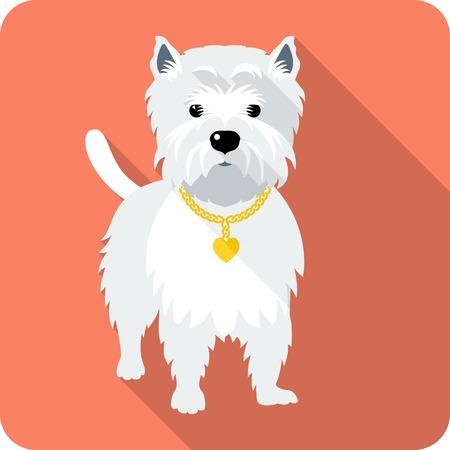 siluetas de animales: perro West Highland White Terrier icono dise�o plano Vectores