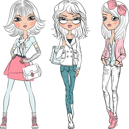 Vector beautiful fashion girls top models 일러스트