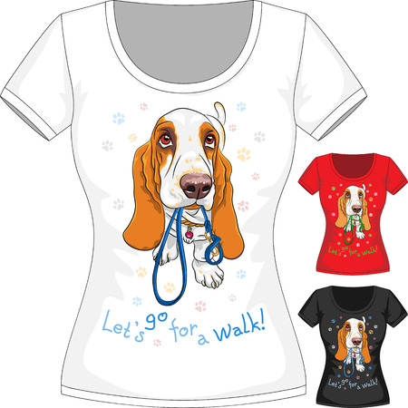 Vector T-shirt with dog Basset Hound Vector