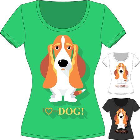 basset hound: Vector T-shirt con el perro de Basset Hound Vectores