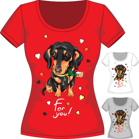 Vector T-shirt with dachshund and flower Vector