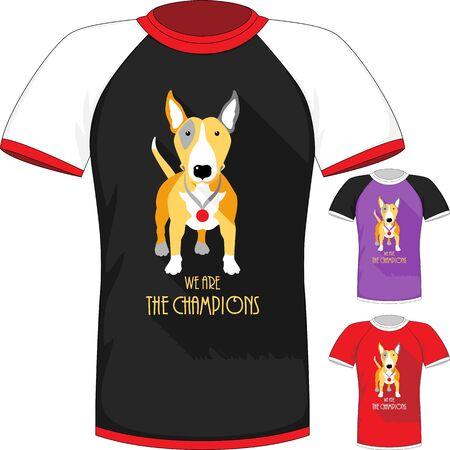 bull terrier: Vector T-shirt with Bull Terrier dog champion