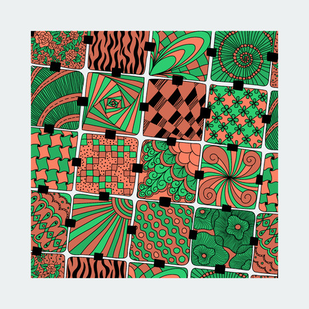varicolored: vector bright varicolored pattern zentangle Illustration